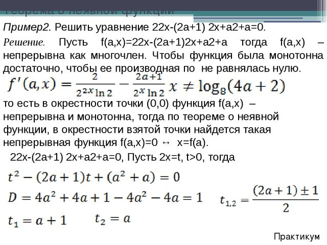 Практикум Пример2. Решить уравнение 22x-(2a+1) 2x+a2+a=0. Решение. Пусть f(a,...