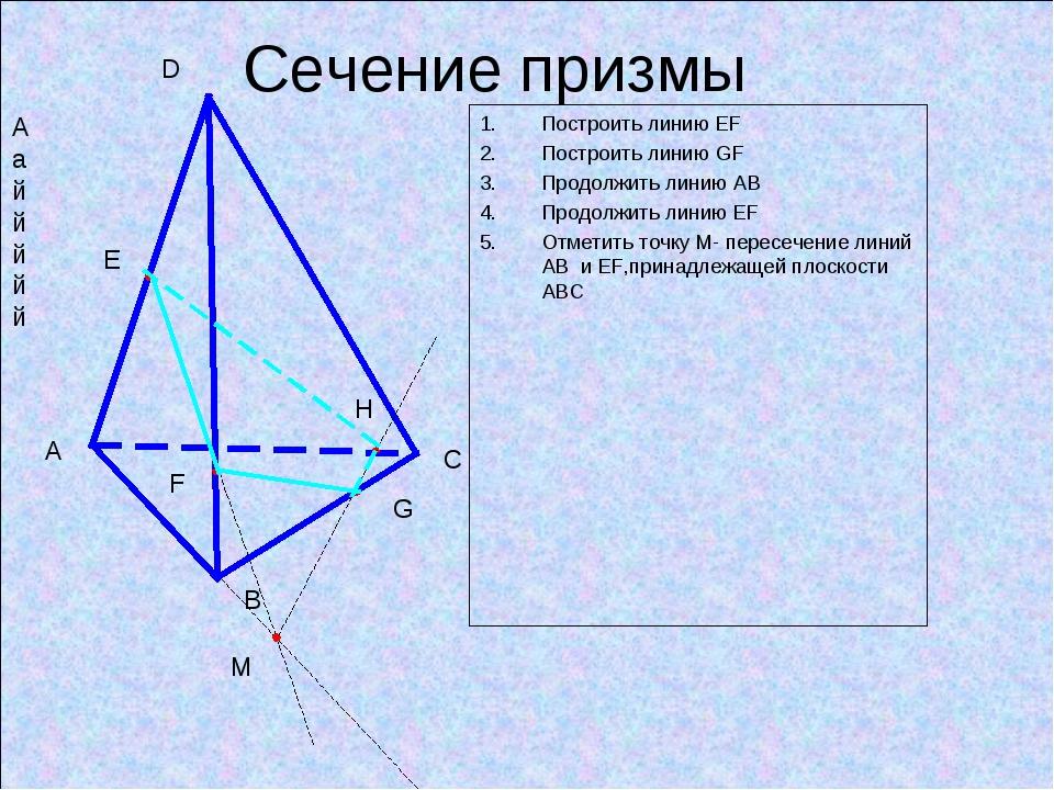 Сечение призмы Построить линию ЕF Построить линию GF Продолжить линию АВ Прод...