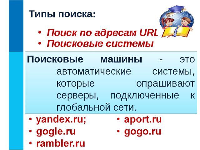 Типы поиска: Поиск по адресам URL Поисковые системы Поисковые машины - это ав...