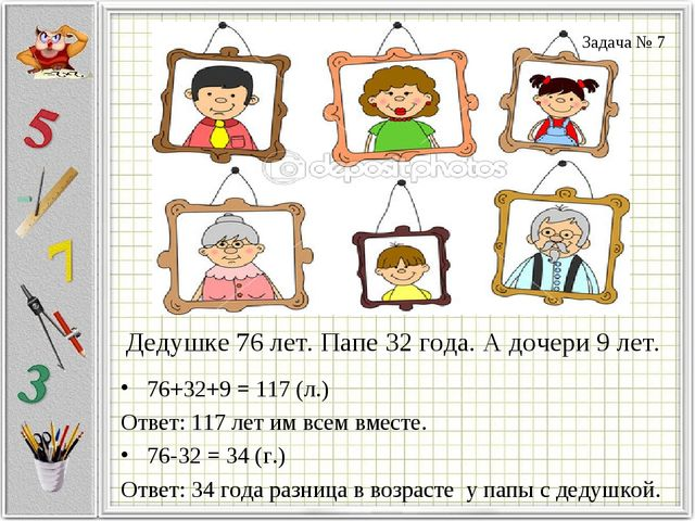 Дедушке 76 лет. Папе 32 года. А дочери 9 лет. 76+32+9 = 117 (л.) Ответ: 117 л...