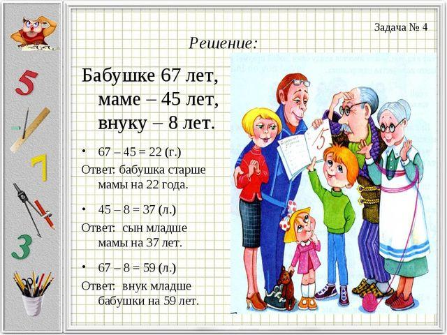 Решение: Бабушке 67 лет, маме – 45 лет, внуку – 8 лет. 67 – 45 = 22 (г.) Отве...