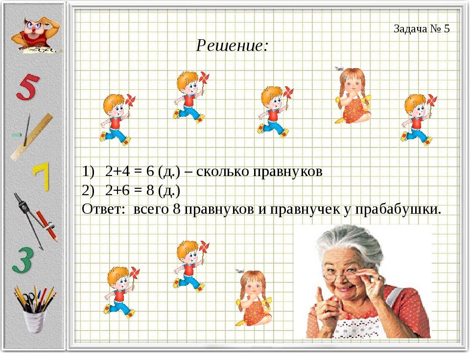 Решение: 2+4 = 6 (д.) – сколько правнуков 2+6 = 8 (д.) Ответ: всего 8 правнук...