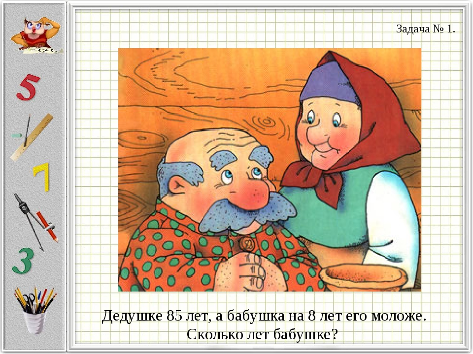 Дедушке 85 лет, а бабушка на 8 лет его моложе. Сколько лет бабушке? Задача № 1.