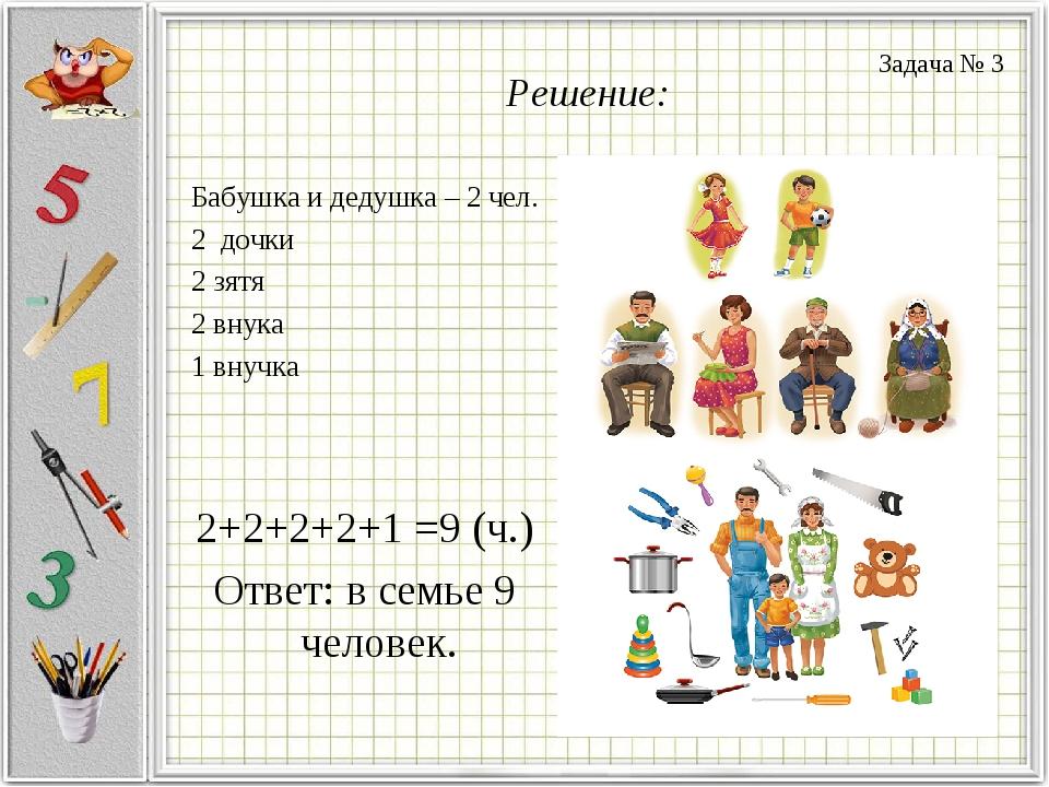 Решение: Бабушка и дедушка – 2 чел. 2 дочки 2 зятя 2 внука 1 внучка 2+2+2+2+1...