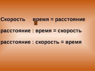 Скорость время = расстояние расстояние : время = скорость расстояние : скорос