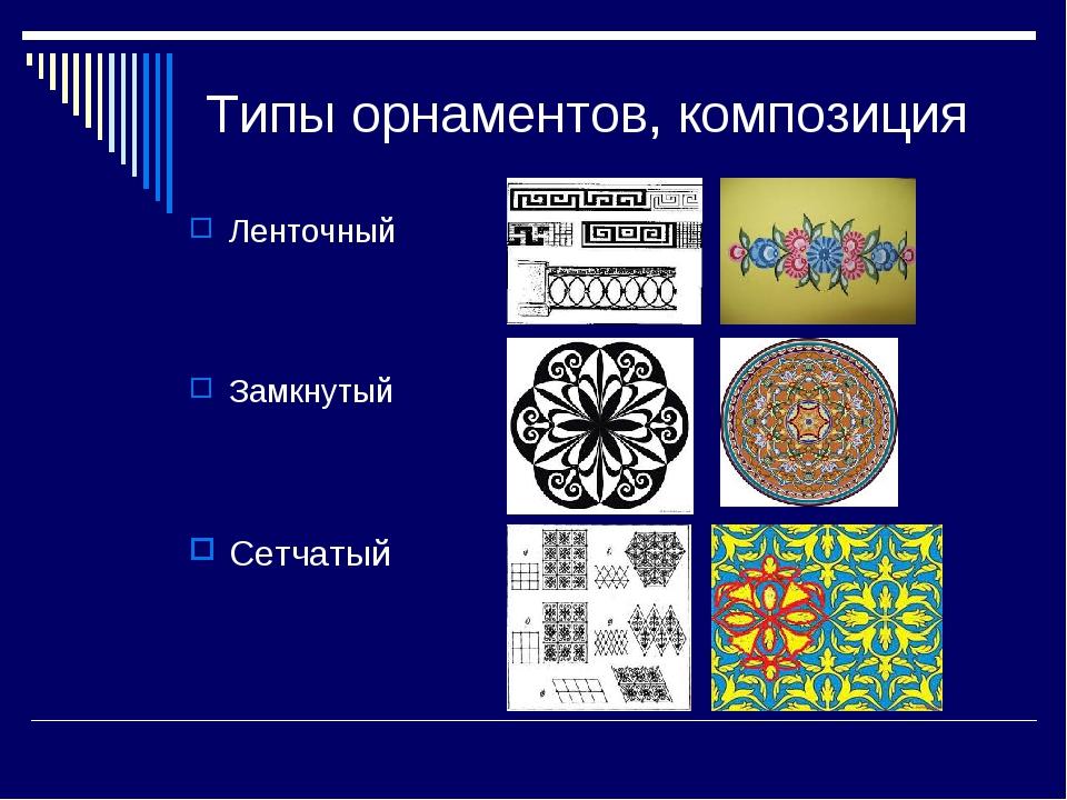 Типы орнаментов, композиция Ленточный Замкнутый Сетчатый