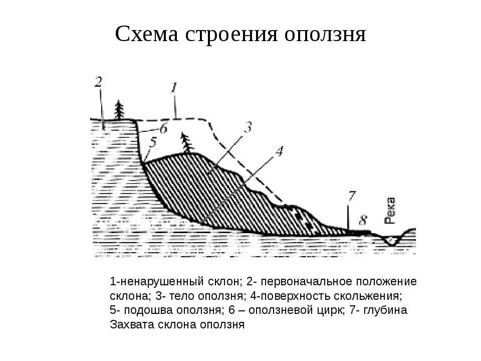 Схема строения оползня 1-ненарушенный склон; 2- первоначальное положение скло...