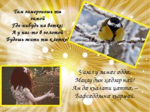 Там замерзнешь ты зимой Где-нибудь на ветке; А у нас-то в золотой Будешь жить