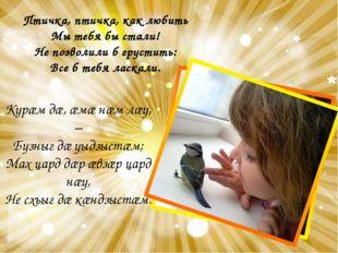 Птичка, птичка, как любить Мы тебя бы стали! Не позволили б грустить: Все б т