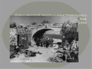 Бойцы морской пехоты у арки Приморского бульвара в освобожденном Севастополе
