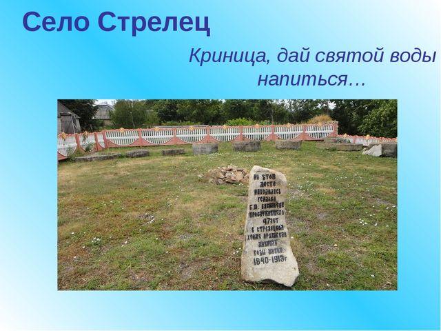 Село Стрелец Криница, дай святой воды напиться…