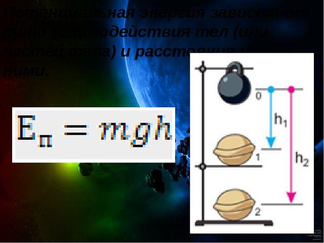 Потенциальная энергия зависит от силы взаимодействия тел (или частей тела) и...