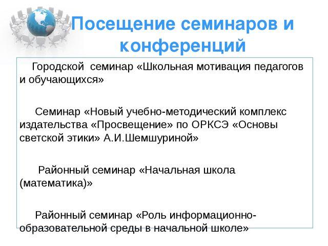 Посещение семинаров и конференций Городской семинар «Школьная мотивация педаг...