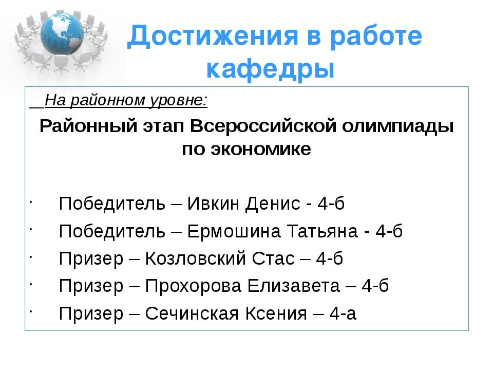 Достижения в работе кафедры На районном уровне: Районный этап Всероссийской о...