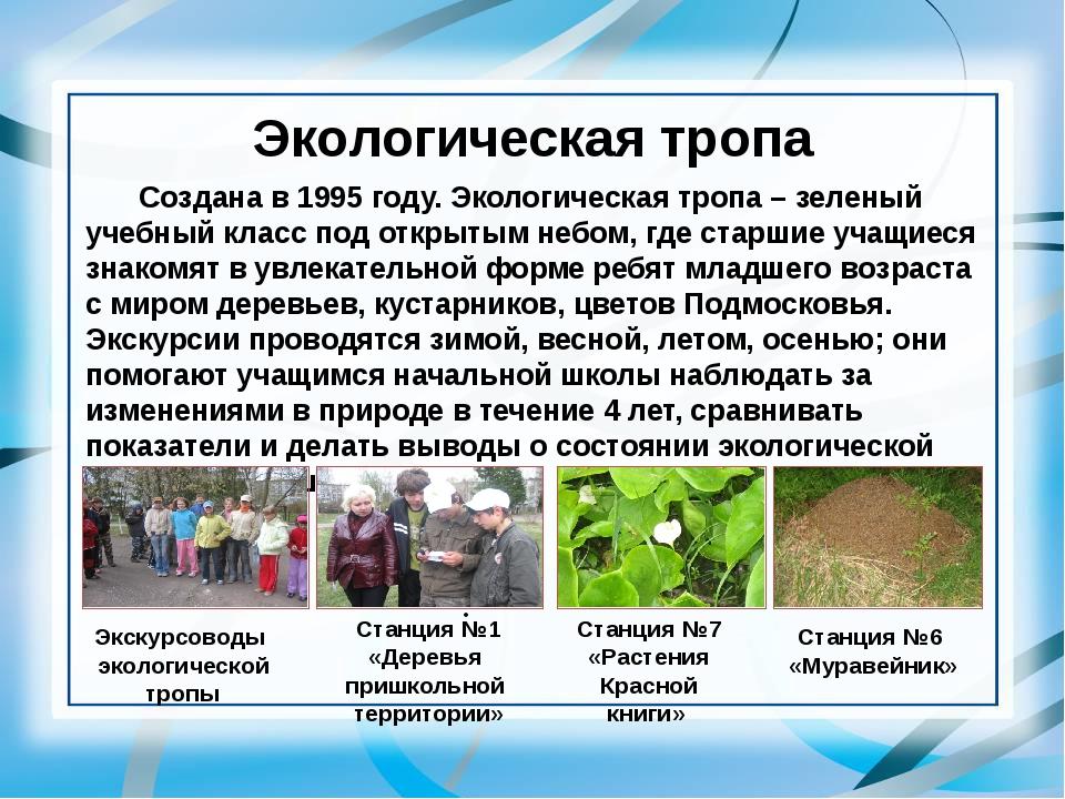 Экологическая тропа Создана в 1995 году. Экологическая тропа – зеленый учебн...