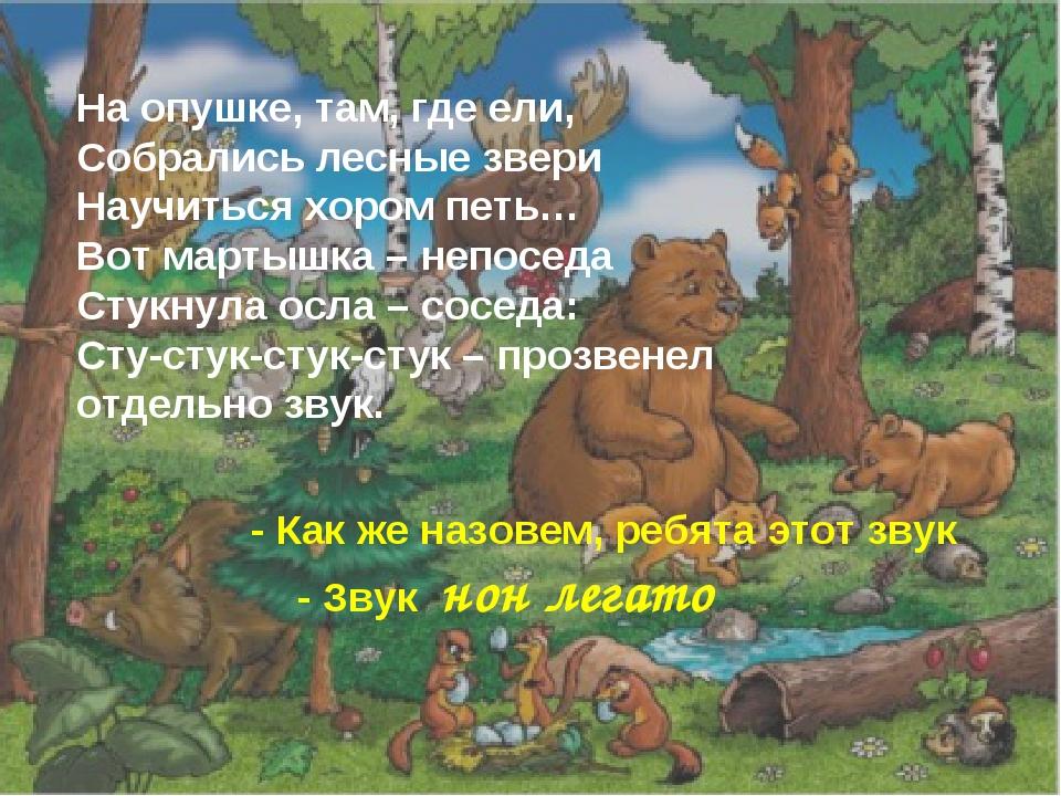 На опушке, там, где ели, Собрались лесные звери Научиться хором петь… Вот ма...