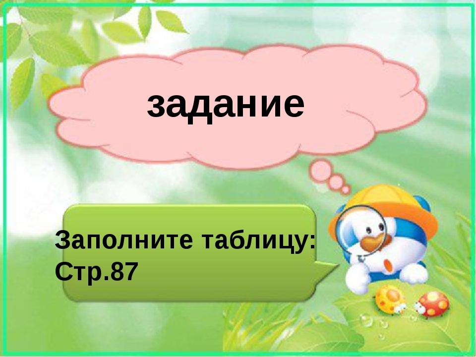 задание Заполните таблицу: Стр.87