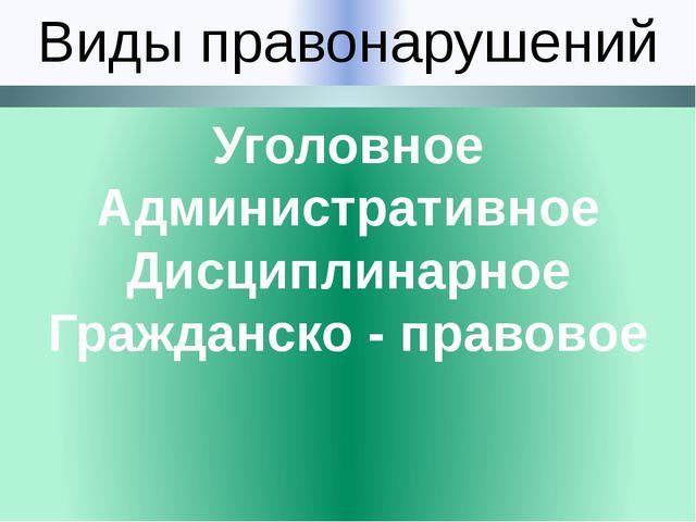 Виды правонарушений Уголовное Административное Дисциплинарное Гражданско - пр...