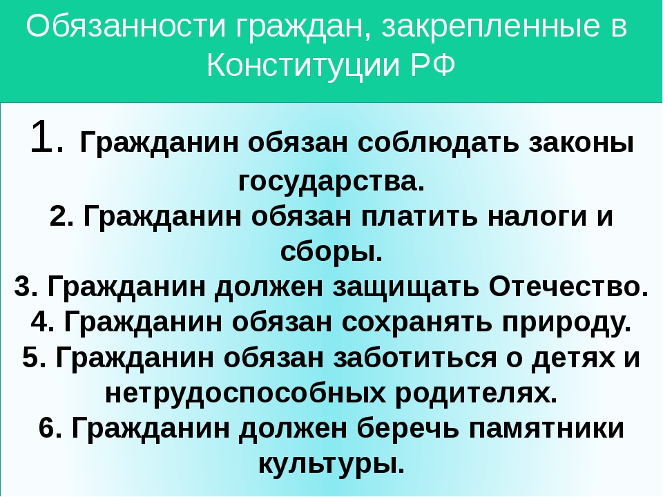 Обязанности граждан, закрепленные в Конституции РФ 1. Гражданин обязан соблюд...