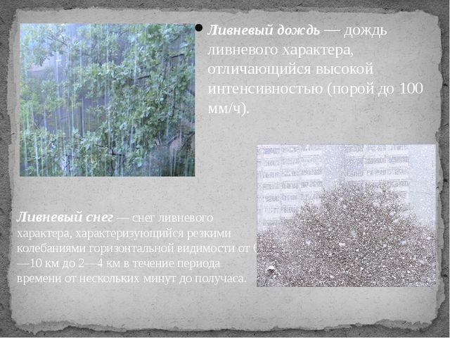 Ливневый дождь — дождь ливневого характера, отличающийся высокой интенсивност...