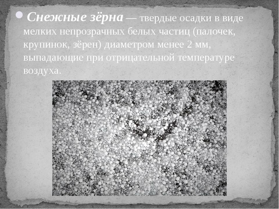 Снежные зёрна— твердые осадки в виде мелких непрозрачных белых частиц (палоч...