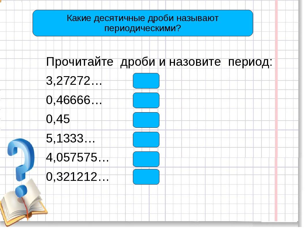 Прочитайте дроби и назовите период: 3,27272… (27) 0,46666… (6) 0,45 (0) 5,133...