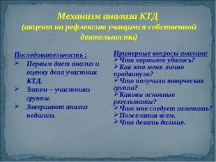 Механизм анализа КТД (акцент на рефлексию учащимся собственной деятельности)