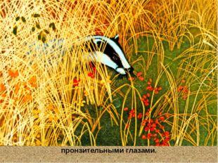 Потом из травы показалась острая мордочка с чёрными пронзительными глазами.