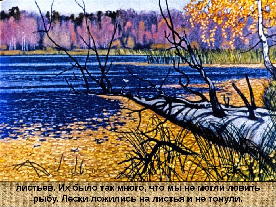 Озеро около берегов было засыпано ворохами жёлтых листьев. Их было так много,...