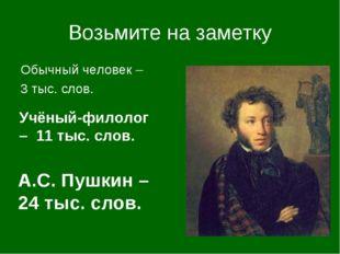 Возьмите на заметку Обычный человек – 3 тыс. слов. А.С. Пушкин – 24 тыс. слов