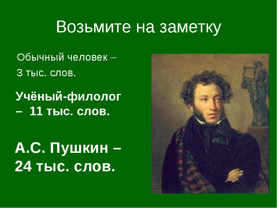Возьмите на заметку Обычный человек – 3 тыс. слов. А.С. Пушкин – 24 тыс. слов...