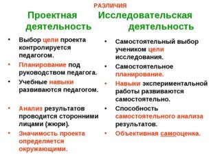 РАЗЛИЧИЯ Проектная Исследовательская деятельность деятельность Выбор цели про