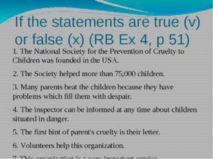 If the statements are true (v) or false (x) (RB Ex 4, p 51) 1. The National S