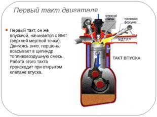 Первый такт двигателя Первый такт, он же впускной, начинается с ВМТ (верхней