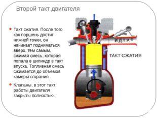 Второй такт двигателя Такт сжатия. После того как поршень достиг нижней точки