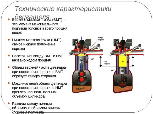 Технические характеристики двигателя Верхняя мертвая точка (ВМТ) – это момент...