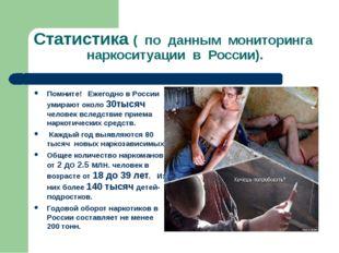 Статистика ( по данным мониторинга наркоситуации в России). Помните! Ежегодно