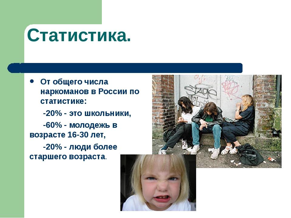 Статистика. От общего числа наркоманов в России по статистике: -20% - это шко...