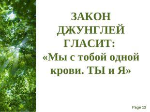 ЗАКОН ДЖУНГЛЕЙ ГЛАСИТ: «Мы с тобой одной крови. ТЫ и Я» Free Powerpoint Templ