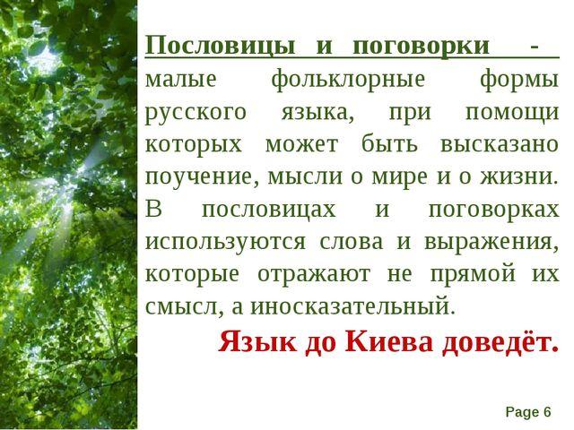 Пословицы и поговорки - малые фольклорные формы русского языка, при помощи ко...