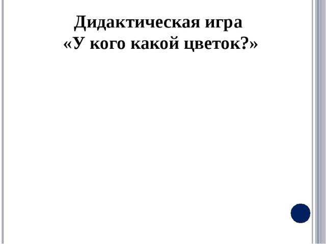 Дидактическая игра «У кого какой цветок?»