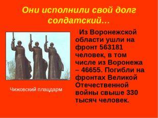 Они исполнили свой долг солдатский… Из Воронежской области ушли на фронт 5631