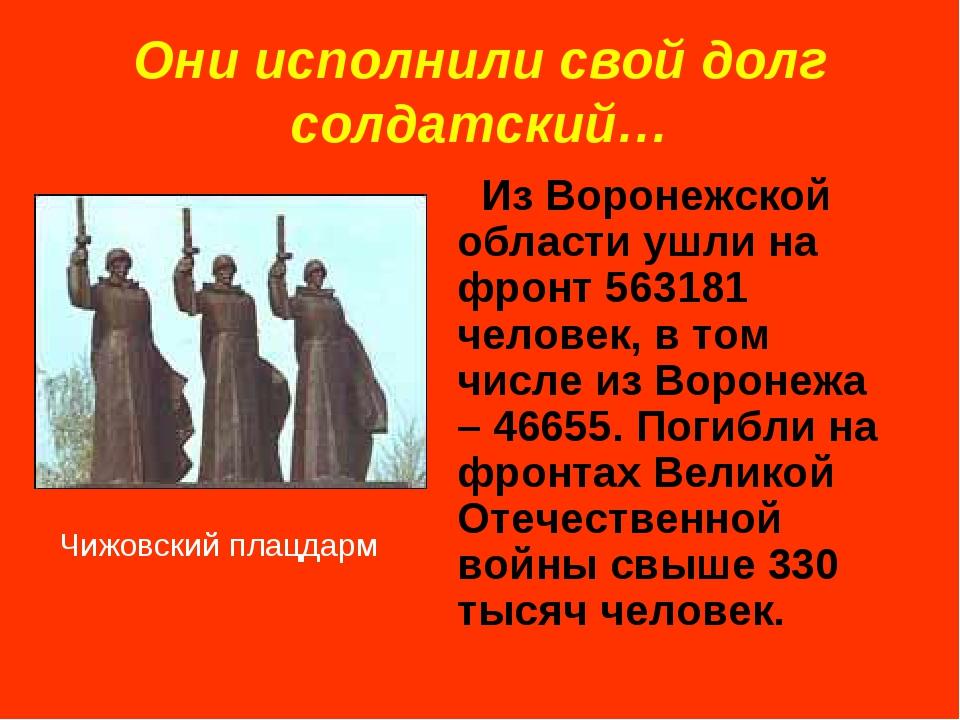 Они исполнили свой долг солдатский… Из Воронежской области ушли на фронт 5631...
