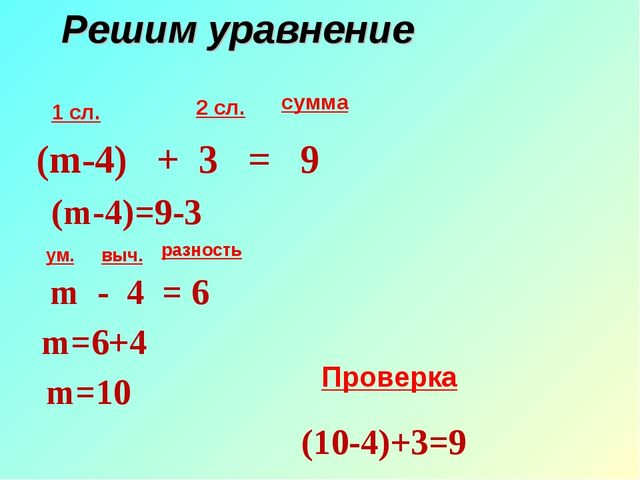 Решим уравнение 1 сл. 2 сл. сумма ум. выч. разность (m-4) + 3 = 9 (m-4)=9-3 m...