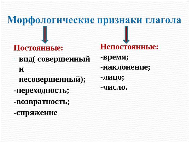 Постоянные: вид( совершенный и несовершенный); -переходность; -возвратность;...