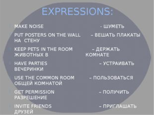 EXPRESSIONS: MAKE NOISE - ШУМЕТЬ PUT POSTERS ON THE WALL – ВЕШАТЬ ПЛАКАТЫ НА