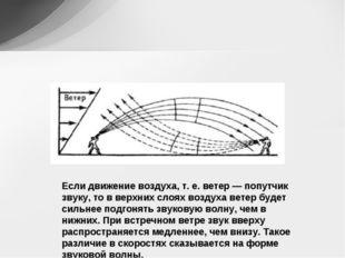 Если движение воздуха, т. е. ветер — попутчик звуку, то в верхних слоях возду