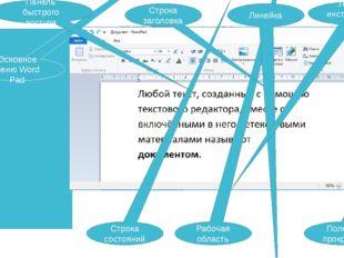 Строка состояний Полосы прокрутки Рабочая область Основное меню Word Pad Стро