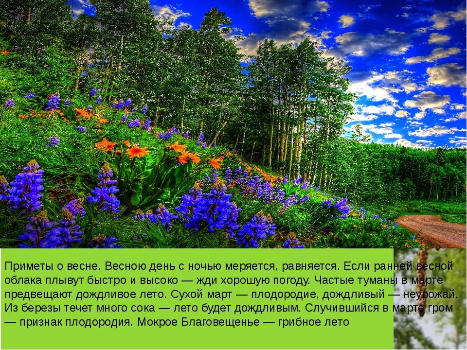 Приметы о весне. Весною день с ночью меряется, равняется. Если ранней весной...