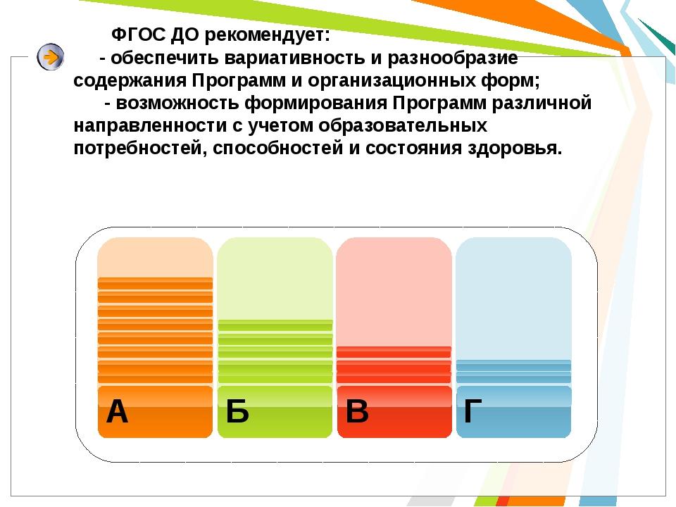 ФГОС ДО рекомендует: - обеспечить вариативность и разнообразие содержания Пр...